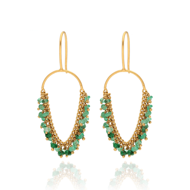 EC One Kate Wood Emerald Loop Hook Earrings