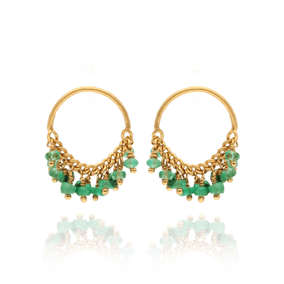 EC One Kate Wood Emerald Loop Stud Earrings Gold Plated