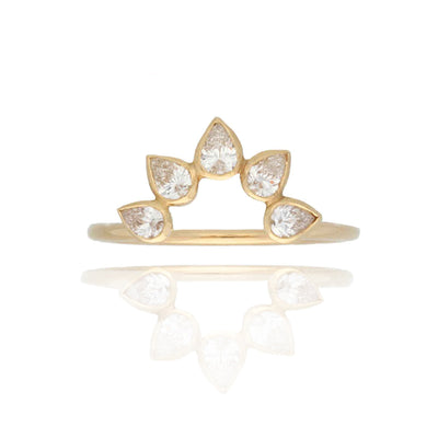 EC One Cece Lucky Gold Ring with Arch of Diamonds