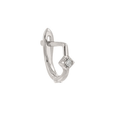 Single Petite White Gold Square-set Diamond Huggie