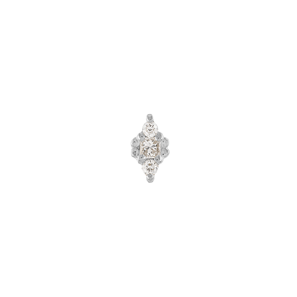 "Single ""Dala 3"" White Gold Diamond Stud"
