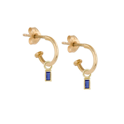Metier Gold Mini Hoops with Baguette Blue Sapphires Hoops