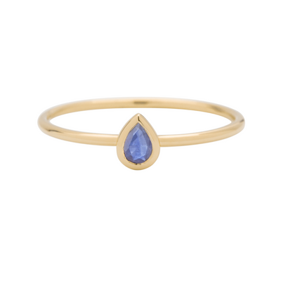 Metier Pear-shaped Tanzanite Stacking Ring in 9ct Yellow