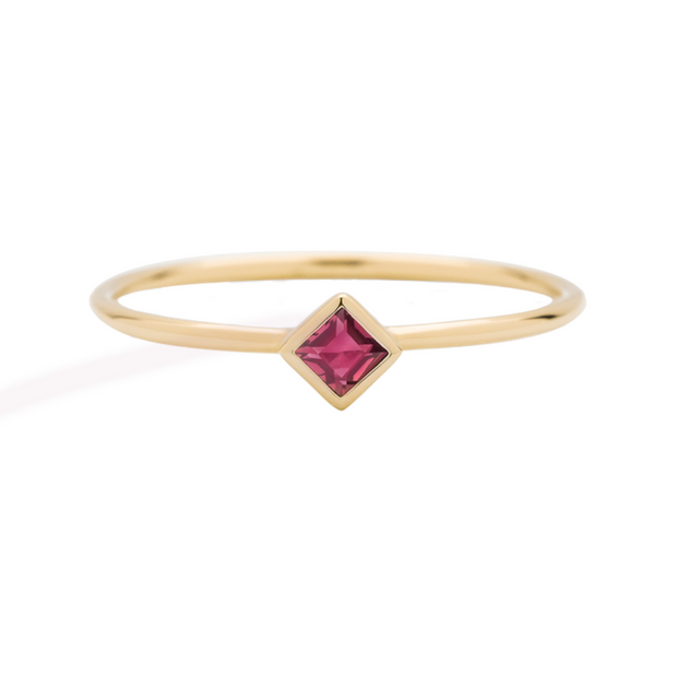 Gold Princess Cut Ruby Stacking Ring