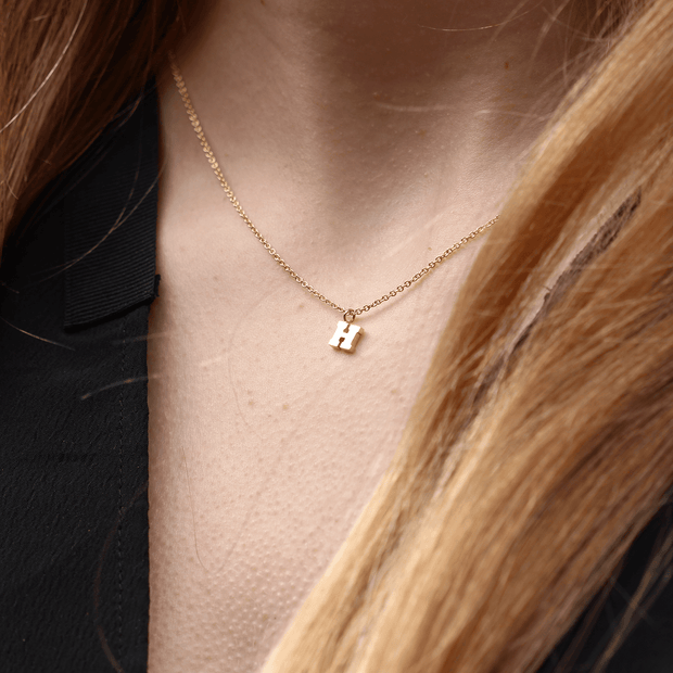 "Mini Gold Letter ""F"" Initial Necklace"