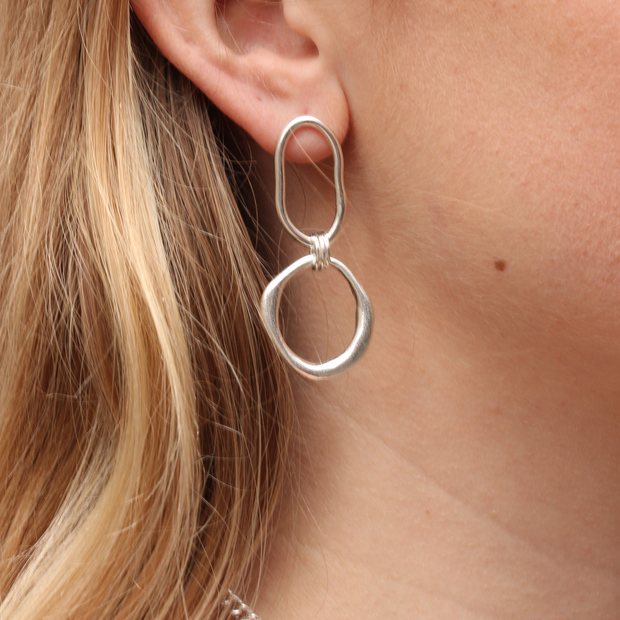 EC ONE Ella Stern recycled silver Mixed Double Shape Link Earrings