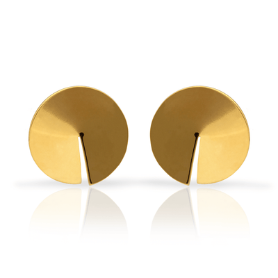 """Moon"" Gold Plated Stud Earrings"