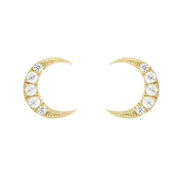 EC One Eye by M Moon Stud Earrings with white sapphires