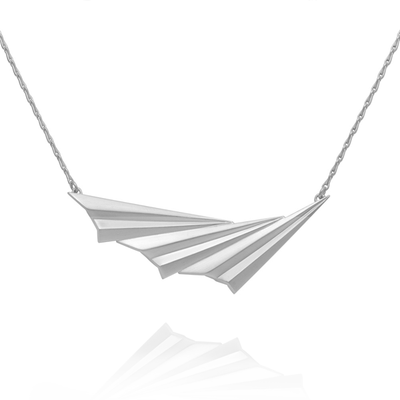 Alice Barnes EC One Pleated Wave Necklace Silver