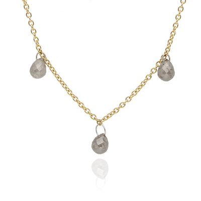 Triple Grey Diamond Briolette Gold Necklace