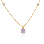 Pink Sapphire and Diamond Slice Gold Necklace