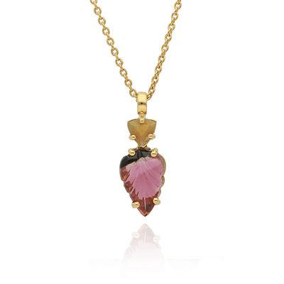 Small Carved Tourmaline and Opal Gold Necklace