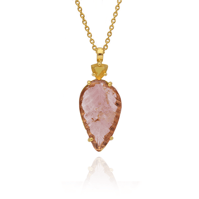 Large Carved Tourmaline and Opal Gold Necklace