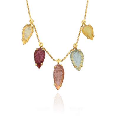 Multi Carved Leaf Tourmaline Gold Necklace