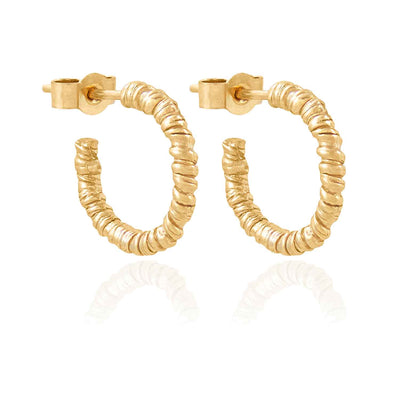 Organic Twist Gold Hoops