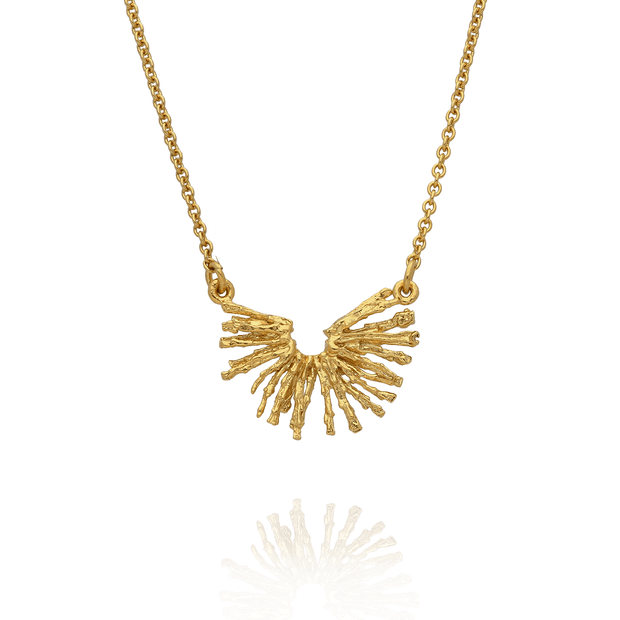 Nest Structure Half-Circle Necklace Gold Plated