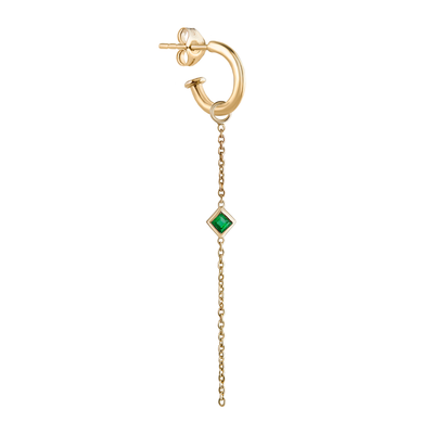 EC一Metier gold hoop with chain and emerald drop