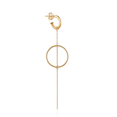 EC One Metier Single Gold Hoop with Loop and Chain Drop