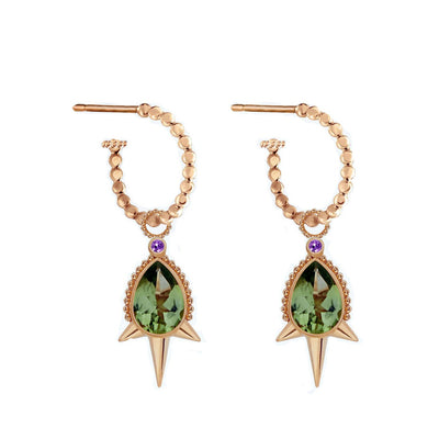 Aurelie Dellasanta Pear-shaped Peridot Spike Hoop Earrings