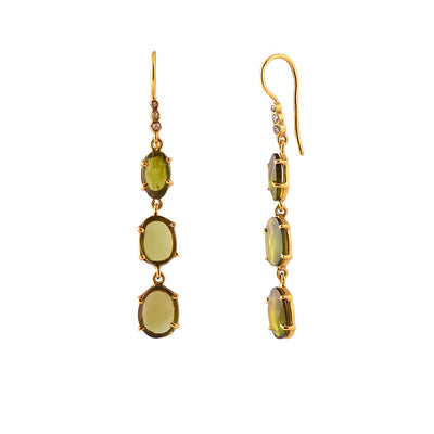 EC One Pomegranate London Triple Green Tourmaline and grey diamond drop earrings