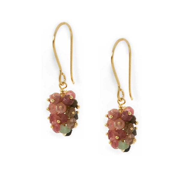 EC One Pomegranate London mixed tourmaline Sara Cluster Hook Earrings
