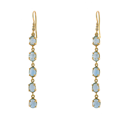 Pomegranate Blue Topaz and Grey Diamond Hook Earrings