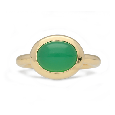Gold East-West Chrysoprase Ring