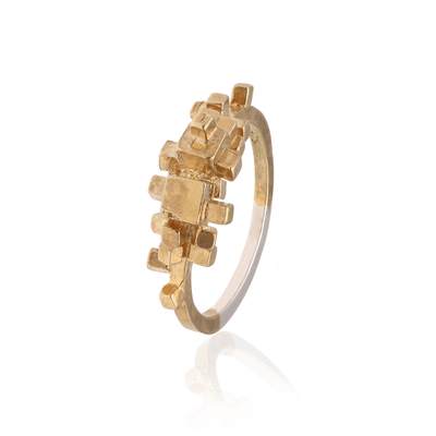Large Gold Plated Rubble Ring