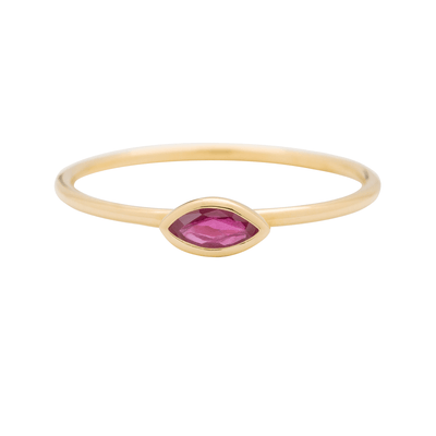 Gold Ruby Horizontal Marquise Stacking Ring