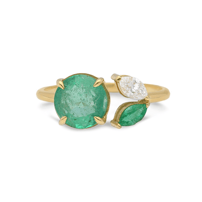 Artisia Leaf Emerald Ring