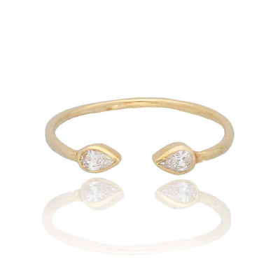 EC One Cece Raindrop gold ring with diamonds