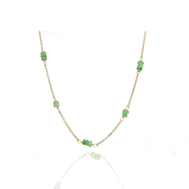 EC One Tsavorite and Recycled Gold Chain Necklace