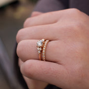EC One 'Hatty' recycled Rose Gold Diamond Ring & 'Emma' diamond wedding band