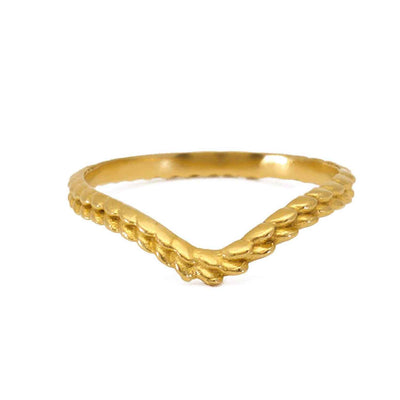 "EC One ""Tagmata"" Shaped Textured Band Gold Plated"