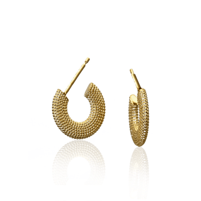 Weol Textured Gold Plated Hoops