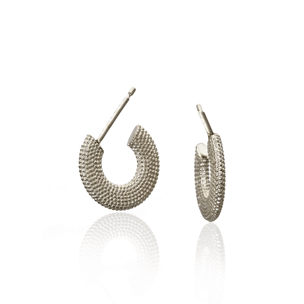 Weol Textured Silver Hoops