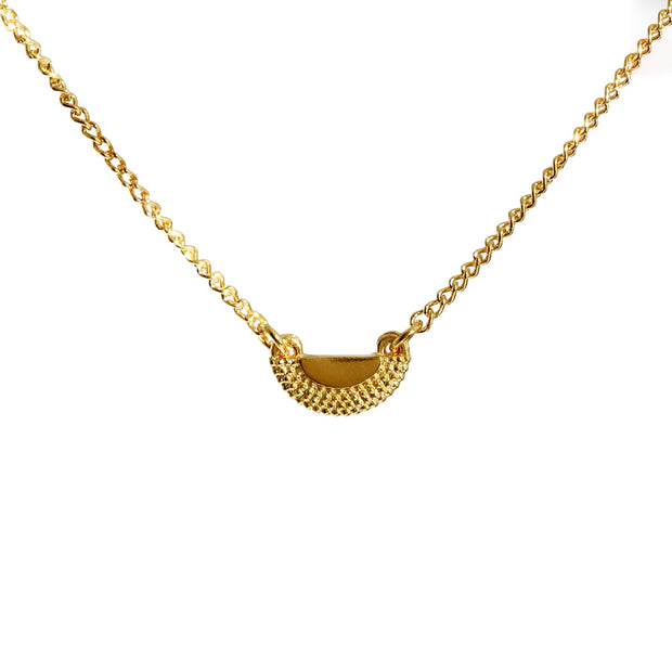 EC One Rosie Kent Ruptus Textured Half Circle Pendant Necklace Gold Plated recycled silver