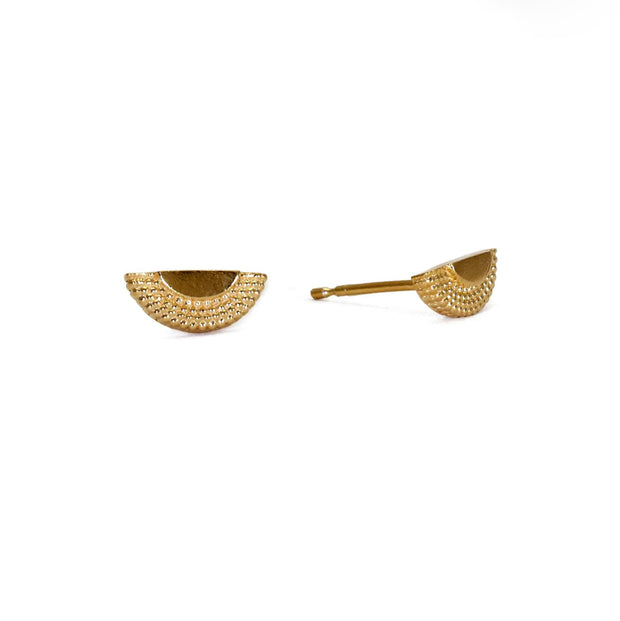 Ruptus Half Circle Studs Gold Plated recycled silver