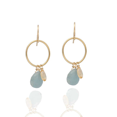 EC One Ruebelle Drop Earrings with Aquamarine & Topaz