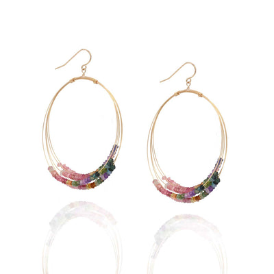 EC One Ruebelle Multicoloured Tourmaline Superhoop Earrings