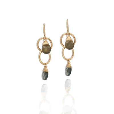 EC One Ruebelle Double Drop Green Tourmaline Loop Earrings