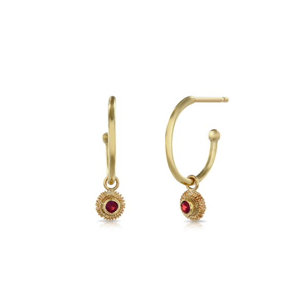 Gold Ruby and Hoop Earrings