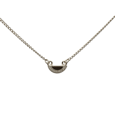 Ruptus Tiny Textured Half Circle Pendant Necklace Silver