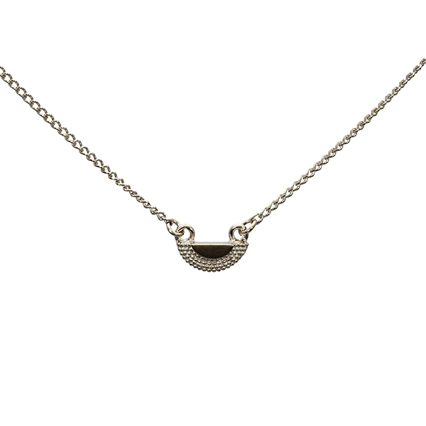 Tiny Textured Half Circle Pendant Necklace