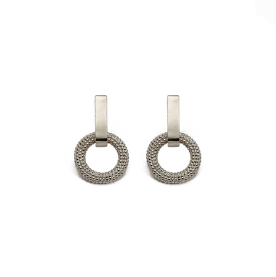Tyro Silver Textured Circle and Bar Studs