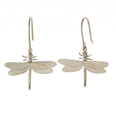 Silver Dragonfly Hook Earrings