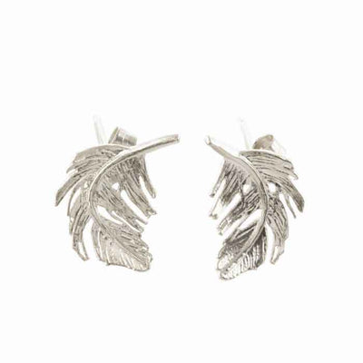 Small Feather Studs Silver