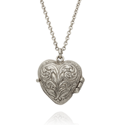Victoriana Keepsake Heart Locket Silver