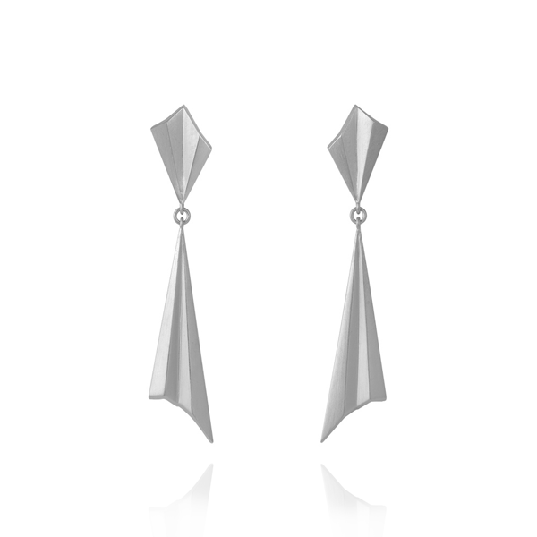 EC One Alice Barnes Silver drop pleated earrings