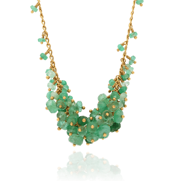 EC One Kate Wood Emerald Single Cluster Necklace